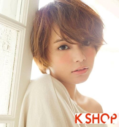 Mẫu tóc ngắn hàn quốc cho bạn gái khuôn mặt tròn