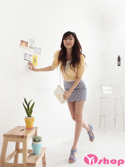 Những kiểu chân váy đầm chấm bi ngắn năng động cho nàng