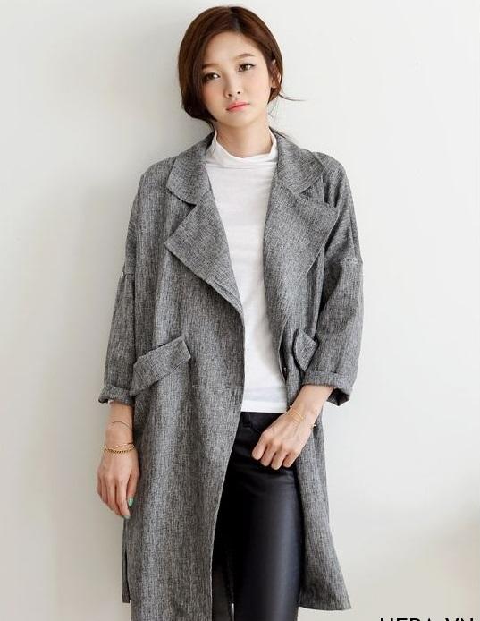Áo khoác dạ nữ dáng dài trẻ trung năm 2018