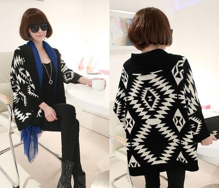 Áo khoác len nữ họa tiết thổ cẩm