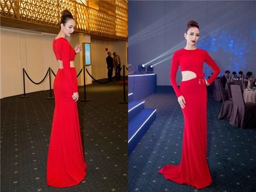 Phạm hương kỳ duyên cuốn hút sang trọng với váy đỏ