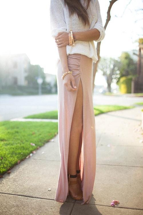 Váy đầm maxi xẻ đùi cho cô nàng công sở chân dài gợi cảm