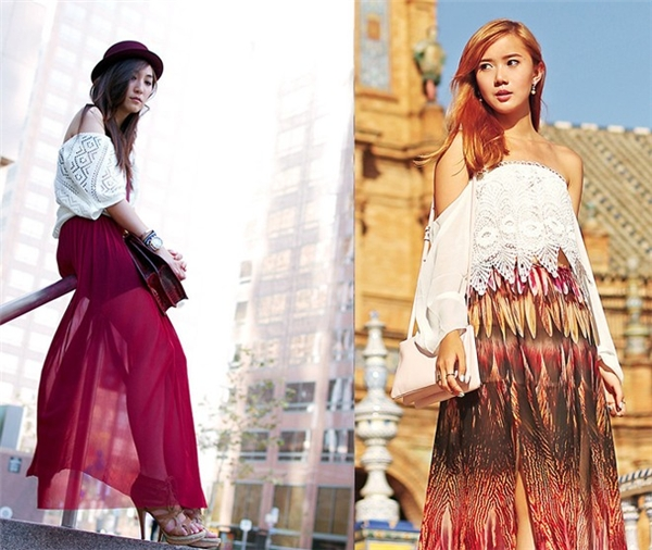 Thời trang hot với chân váy xuyên thấu xẻ tà