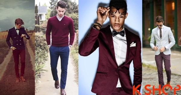 Mẫu thời trang nam sắc đỏ Burgundy sang trọng