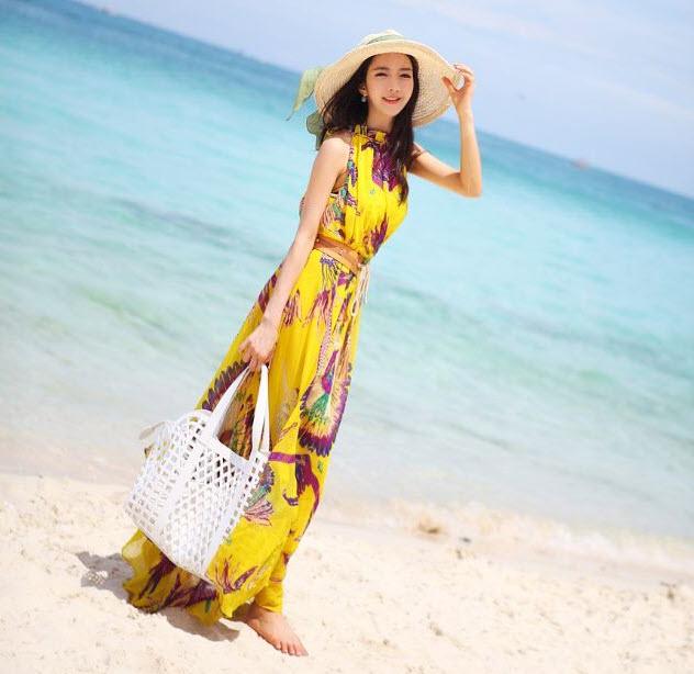 Váy maxi vải voan điệu đà dạo biển đón nắng hè 2017