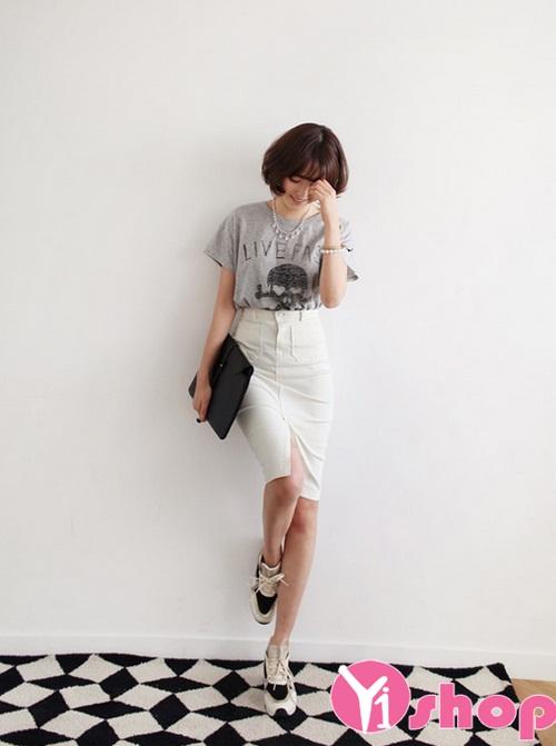 Chân váy đầm bút chì dáng dài đẹp hè 2017 cho nàng công sở