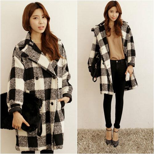 Áo khoác dạ kẻ caro nữ ấm áp ngày lạnh