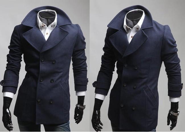 Áo khoác dạ măng tô dáng dài nam sang trọng ngày công sở