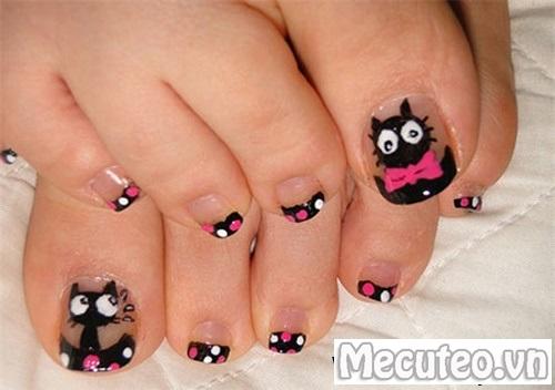 Mẫu móng tay hình con mèo cho nàng yêu động vật