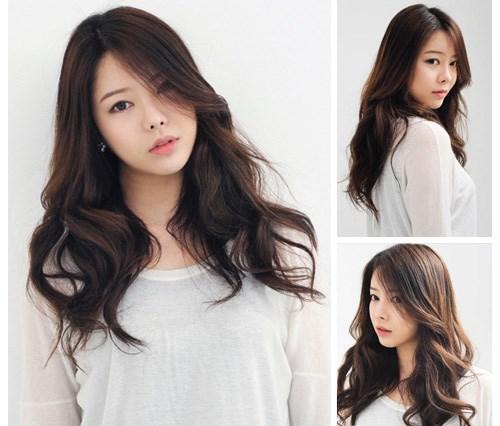Những kiểu tóc mái dài uốn xoăn đẹp 2017 hàn quốc cho bạn gái