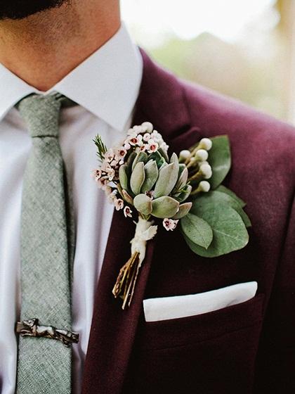 11 kiểu hoa cài áo phong cách cho chú rể