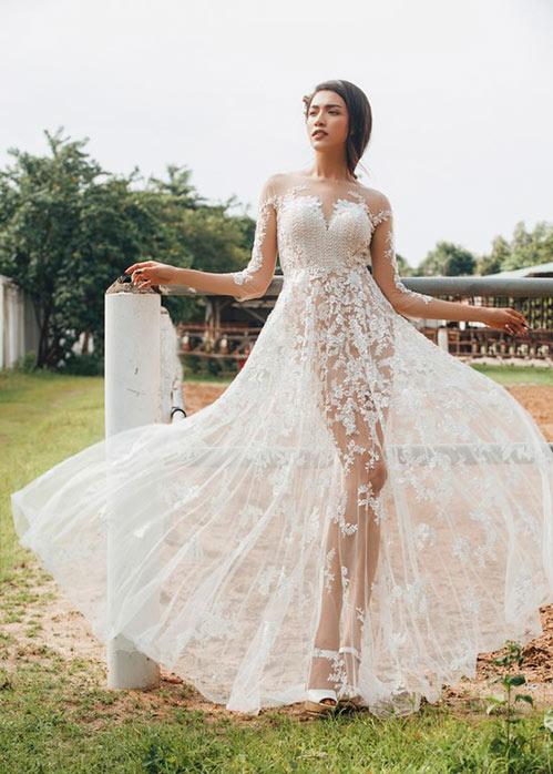 Á hậu lệ hằng quyến rũ hút hồn với váy cưới